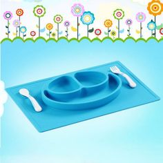 Smiling face Platinum Silicon Mat - One-piece silicone placemat + plate Blue