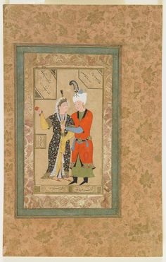 Click to zoom A prince and princess embrace--Maker(s) Artist: Abdullah Medium: Ink, opaque watercolor and gold on paper.