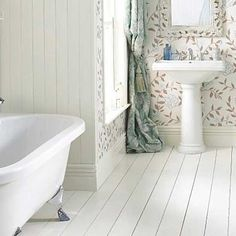 Modern country style bathroom - love fabric in the bathroom.