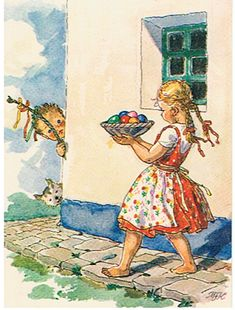 Maria Fischerova-Kvěchová Today is the first of several Easter posts where we will focus on Czech Easter traditions and folk customs throughout all the lands of Bohemia, Moravia and Slovakia. April Easter, Happy Easter, Easter Traditions, Easter Parade, Easter Activities, Naive Art, Vintage Easter, Vintage Greeting Cards, Poster