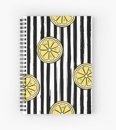 Striped seamless pattern with hand drawn lemons. Fruit ornaments in a modern style Diy Notebook Cover, Notebook Art, Cute Notebooks For School, Sketchbook Cover, Graphic Design Books, Bookbinding Tutorial, Fruit Painting, Cute School Supplies, Art Journal Techniques