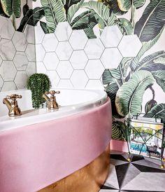 "also possible for bathroom if not pink subway tile, wall paper ""bee hive"" back splash on top, gold fixtures, pink counter Boho Bathroom, Bathroom Inspo, Bathroom Interior, Modern Bathroom, Small Bathroom, Tropical Bathroom, Palm Tree Bathroom, Tropical Tile, Botanical Bathroom"