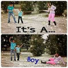 Gender Reveal Photography. We're having a boy!  Winter Photography. Family Photography.