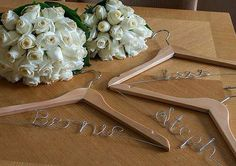 Personalised hand made wedding hangers www.lovehangers.com.au