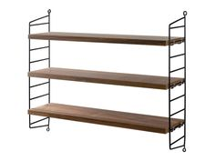 Introduced in the String shelf system is regarded as a design icon and still looks as modern today as it did over 60 years ago. Each String Pocket shelf system contains 2 side panels and 3 shelves and is perfect for CDs, DVDs and paperbacks. Decor, Furniture Design, Bookcase, Furniture, Shelves, Interior, Bookshelves, Shelving, Home Decor