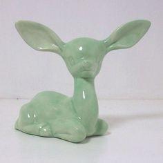 Ceramic Deer Figurine Vintage Design Celadon by fruitflypie Vintage Love, Retro Vintage, Porcelain Dolls For Sale, Hand Molding, Ceramic Animals, Vintage Pottery, Vintage Ceramic, Art Deco Furniture, Oh Deer