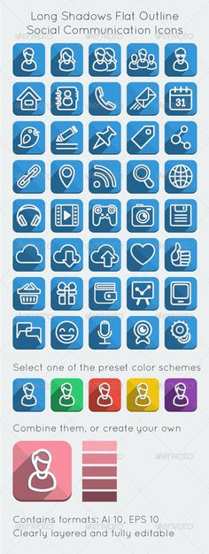 Long Shadows Flat Outline Social Network Icons #vector #graphic #icons #design