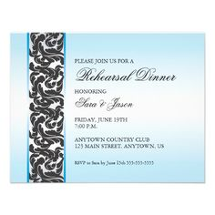 Blue with Black Swirly Ribbon Rehearsal Dinner Custom Announcements