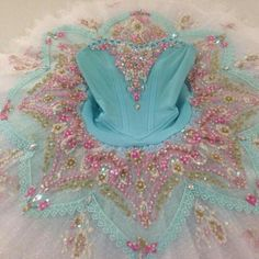 Beautiful detailed aqua blue and pink pancake Tutu