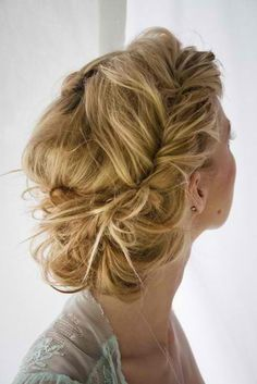 i love this.it's french fishtail braids the are kinda pulled apart (sorta) to make them messier looking.then put into a bun. Beautiful Hair and Makeup,Bridal Hair And Makeup,Hair,Hair & Beauty,Ha Chic Hairstyles, Prom Hairstyles, Pretty Hairstyles, Braided Hairstyles, Braided Updo, Twisted Updo, Summer Hairstyles, Romantic Hairstyles, Simple Hairstyles