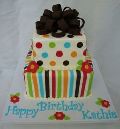 stripes and dots By mbark on CakeCentral.com