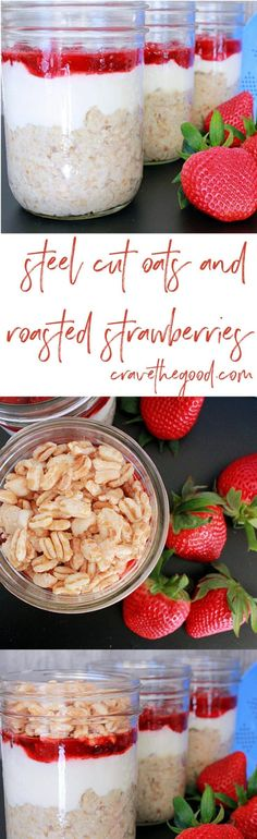 Steel Cut Oats With Roasted Strawberries | Try these layered single serve steel cut oat parfaits for breakfast for a real stick to your ribs breakfast! {vegan, gluten free, dairy free, egg free, nut free} | cravethegood.com