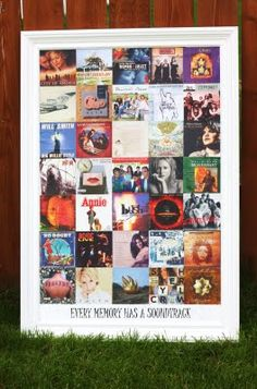 Would be fun to create one of these with movie posters sized down. Could match any theme. I'd do John Hughes movies or an 80s or 90s theme. CD Cover Wall Art #walls