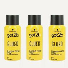 3x Schwarzkopf got2b GLUED Blasting Freeze Spray 3x 100ml FAST DISPATCH | eBay Got2b Glued, Christams Gifts, Hairspray, Hold On, Conditioner, Bottle, Ebay, Hair Sprays