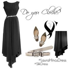 Cloche Dress featuring AB A Brand Apart Pointy Toe Flats, Leather Belts, Mix N Match, Fashion Looks, Silk, Shopping, Image, Dresses, Gowns