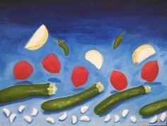 "For Sale: Zucchini Wave by cynthiaag | $250 | 24""w x 18""h | Original Art | http://www.vangoart.co/buy/art/zucchini-wave @VangoArt"