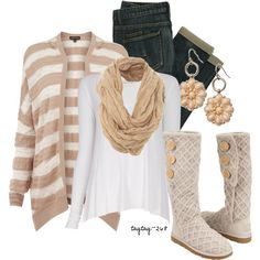 """Tan & White"" by taytay-268 on Polyvore"