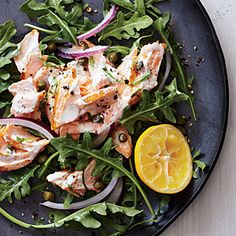 Salmon Salad on Arugula | CookingLight.com #myplate, #protein, #veggies