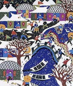 """""""A Snowy New Year"""", """"The Temple at New Year's"""" and """"Dragon Parade"""". In all of these paintings, the subjects carry lanterns, cymbals and drums as part of the traditional celebrations."""