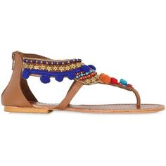 Percent Women 10mm Mumbai Pompom Leather Sandals