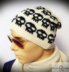 Ravelry: Skulls-lue pattern by Marion Louise Rindsem Knit Crochet, Crochet Hats, Knitted Hats, Winter Hats, Beanie, Skulls, My Style, Pattern, Knitting Ideas