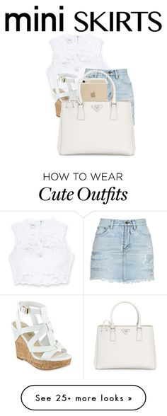 """""""Mini Skirt Outfit"""" by paricebourgoin on Polyvore featuring Bebe, Yves Saint Laurent, GUESS and Prada"""