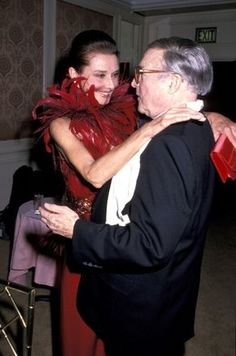 Audrey Hepburn and Gene Kelly at the Council of Fashion Designers of America Awards in New York in January 1989.