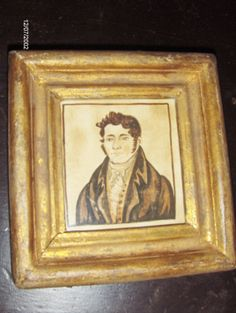 1820 style watercolor portrait of a Gentleman in brown in an early gilt frame by Steve Shelton at Whitehorse Antiques, Rocheport, Mo.  Copyright Steve Shelton.(SOLD)