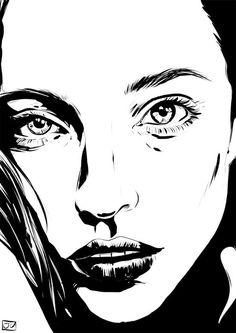 AFA - art for adults - ink drawings by giuseppe cristiano, he is the. Drawing Sketches, Cool Drawings, Drawing Faces, Arte Tribal, Cartoon Drawings Of People, Portrait Illustration, Fantasy Illustration, Bd Comics, Digital Portrait