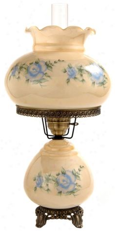 Patterned After Antique Style Lamps, This Charming Reproduction Features  Pretty Blue Roses On Tinted Glass. Night Light In Base Watt Bulb Included).