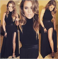 Leggy: Khloe Kardashian showed her followers her black Golden Globes after party outfit on Sunday