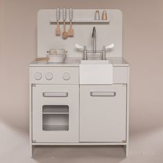 Wooden Toy Kitchen with 7 Cooking Accessories ⇒ Beautiful, timeless design ✓ More colours available ⇒ See the entire collection of wooden toys here Wooden Dollhouse, Wooden Dolls, Wooden Toy Kitchen, Toys For Us, Joy Of Cooking, Pan Set, Amelie, Kitchen Utensils, Grey