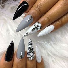 Shiny black, matte grey, and matte white stiletto nail design! Beautiful nails by @nailsbyquetel Ugly Duckling Nails page is dedicated to promoting quality, inspirational nails created by International Nail Artists #nailartaddict #nailswag #nailaholic #nailart #nailsofinstagram #nail