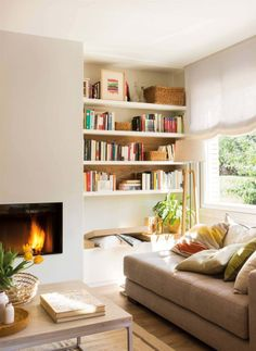 28 Extremely Cozy Fireplace Reading Nooks For Curling Up In Cozy Fireplace, Living Room With Fireplace, Cozy Living Rooms, Fireplace Design, Home Living Room, Living Room Decor, Living Spaces, Small Fireplace, Paint Colors For Living Room