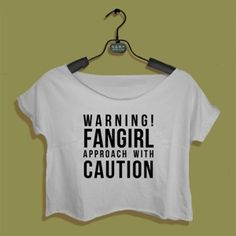 Crop Top Warning Fangirl Approach With Caution. Buy 1 Get 1 Free Tumblr Crop Tee as seen on Etsy, Polyvore, Instagram and Forever 21. #tumblr #cropshirts #croptops #croptee #summer #teenage #polyvore #etsy #grunge #hipster #vintage #retro #funny #boho #bohemian