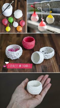 Best 12 Growing up we always had the most wonderful homemade Easter baskets that my mother made for us. What I loved most – SkillOfKing.Cute and easy mini baskets - I could potentially make these things smaller too. like if I used embroidery thread Diy Crafts Hacks, Diy Home Crafts, Diy Arts And Crafts, Yarn Crafts, Diy Projects, Diy For Kids, Crafts For Kids, Homemade Easter Baskets, Diy Ostern