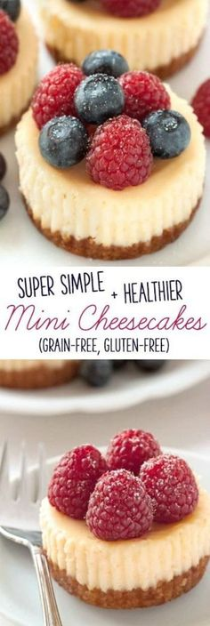 need a full cheesecake? These delicious gluten-free and grain-free mini cheesecakes are the perfect solution!Dont need a full cheesecake? These delicious gluten-free and grain-free mini cheesecakes are the perfect solution! Dessert Sans Gluten, Gluten Free Sweets, Gluten Free Cakes, Gluten Free Cooking, Gluten Free Recipes, Baking Recipes, Gluten Free Deserts Easy, Gluten Free Dinners, Gluten Free Christmas Recipes