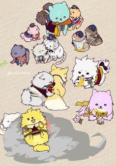 Touken Ranbu in dog form! Ahaha so cute! Touken Ranbu, I Love Anime, Me Me Me Anime, Chibi Characters, Anime Animals, Akita, Game Art, Character Design, Geek Stuff