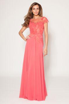 Beaded Coral Chiffon Evening Gown   Teri Jon