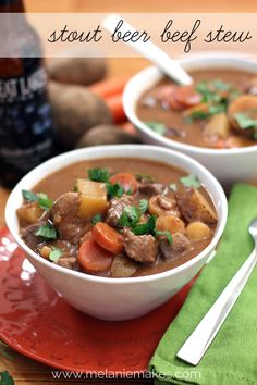 Stout Beer Beef Stew.  This looks so hearty and delicious!  I bet the stout gives it great flavor.  #soup #beer #recipe