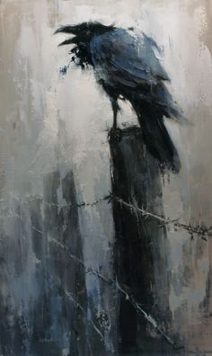 """Every time I see Lindsey Kutusch art I think of Edgar Allan Poe and the The Raven. Each piece should be named, """"Nevermore,"""" in my opinion. Or maybe the entire collection of art could be called, """"Nevermore. Crow Art, Raven Art, Bird Art, The Raven, Crow Painting, Painting & Drawing, Watercolor Painting, Fantasy Kunst, Fantasy Art"""