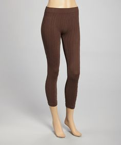 Look at this #zulilyfind! Brown Ribbed Leggings - Women by SR Fashions #zulilyfinds