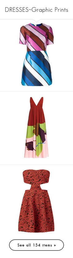 """""""DRESSES~Graphic Prints"""" by caroline-brazeau ❤ liked on Polyvore featuring dresses, short dresses, multicolour, mini dress, short blue dresses, house of holland dress, multi-color dress, burgundy print, patterned maxi skirt and red pleated maxi skirt"""
