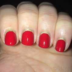 Red nails with a gold moon accent; easy and festive! Polishes used--Rouge Louboutin and OPI L.A.M.B.