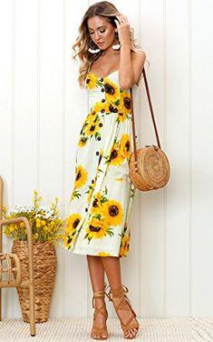 36c45fff6775 Angashion Women s Dresses-Summer Floral Bohemian Spaghetti Strap Button  Down Swing Midi Dress with Pockets