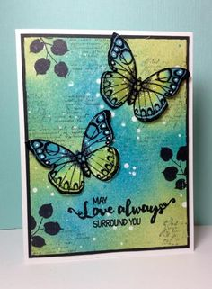 Antique Flowers and Butterflies, Delicate Leaf Clusters: Hero arts, sentiment: stamplorations, by beesmom - Cards and Paper Crafts at Splitcoaststampers