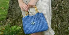 Jeweled Blue Woven Straw Handbag with Bamboo Handles by PantoisPapillon, $35.00