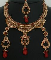 Indian Polki bridal jewelry with Gold plated Ruby set-11PLKJ14