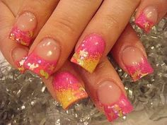neon pink fingernail art | ... through them using colored nail polishes glitter nail art stickers etc