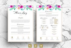 Watercolour Flower Resume PSD by Emily's ART Boutique on Creative Market